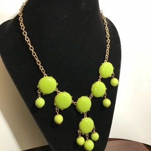 Lime Green Bib Bauble Bubble Necklace Gold Tone